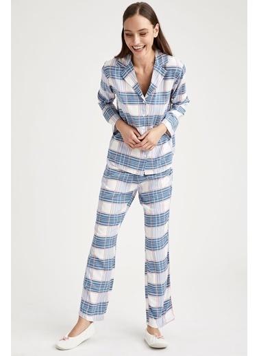 Defacto –Fit Ekoseli Gömlek Tasarımlı Pijama Takımı Ekru